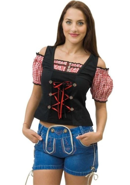 Deluxe Dame Tyrolerbluse, Sort/Roed tilbehoer