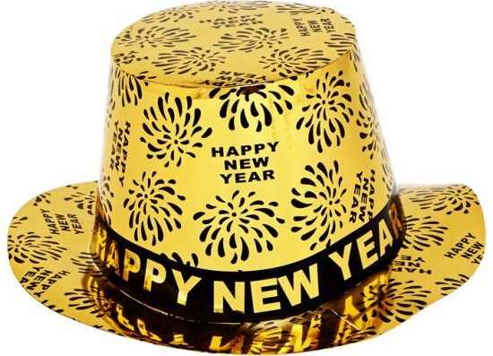 Nytaars tophat, Happy New Year, guld Tilbehoer